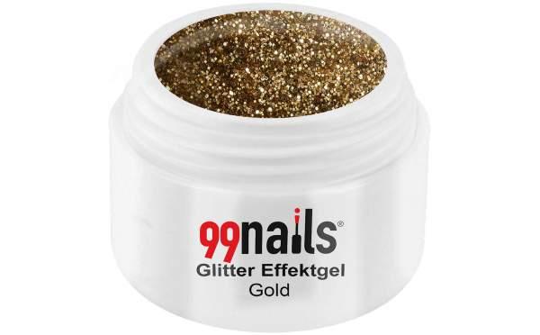 Glitter Effektgel - Gold 5ml