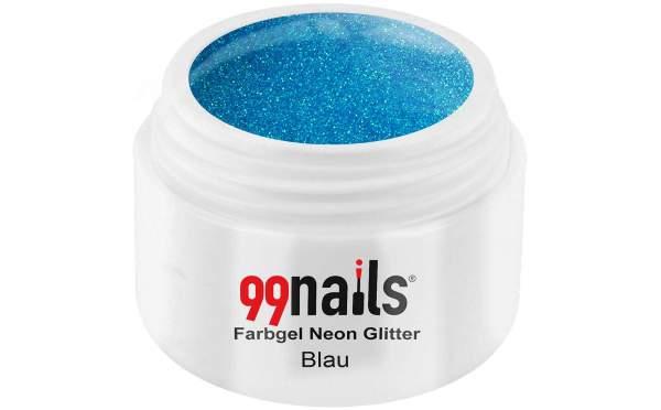 Farbgel Neon Glitter - Blau 5ml