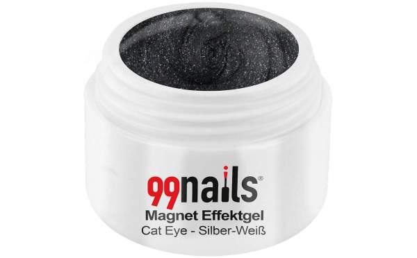 Magnet Effektgel - Cat-Eye - Silber-Weiß 5ml