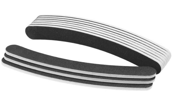 50x Premium Nagelfeile gebogen Schwarz Körnung 100/180