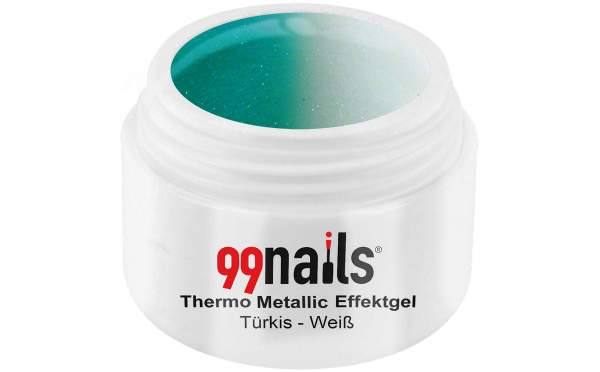 Thermo Metallic Effektgel - Türkis-Weiß 5ml